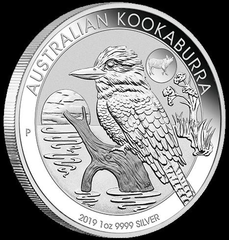 1 Unze Silber Kookaburra Privy Mark Schwein 2019