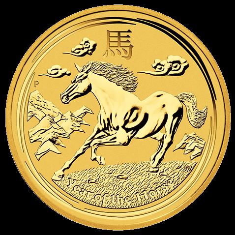 Vorderseite der 2 Unzen Gold Lunar Pferd 2014 | Vorderseite der 2014er 2 oz Lunar Motiv Pferd aus Gold der Perth Mint Australia