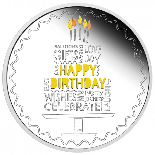 1 Unze Silber Happy Birthday 2021 - Polierte Platte