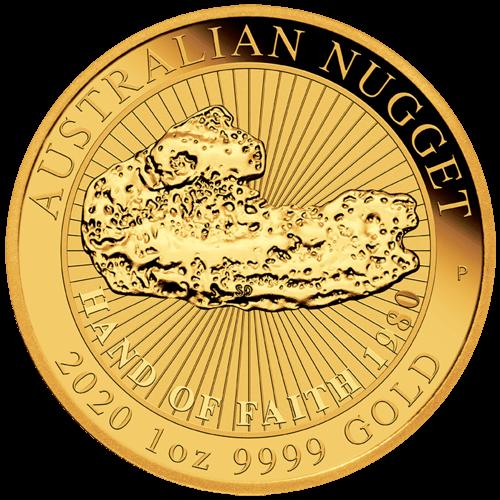 1 Unze Gold Australian Nugget Hand of Faith 2020