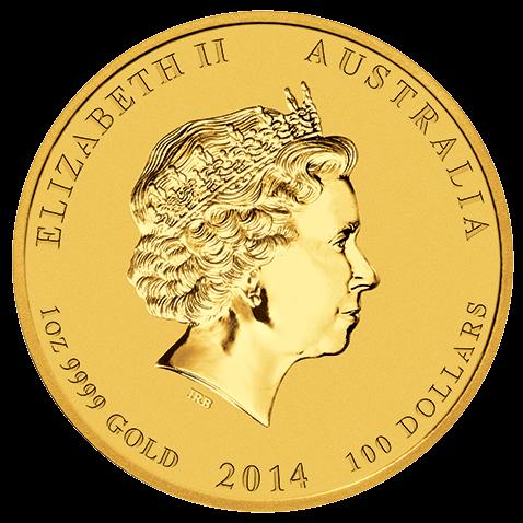 Rückseite der 1 Unze Gold Lunar Pferd 2014   Rückseite der 2014er 1 oz Lunar Motiv Pferd aus Gold der Perth Mint Australia