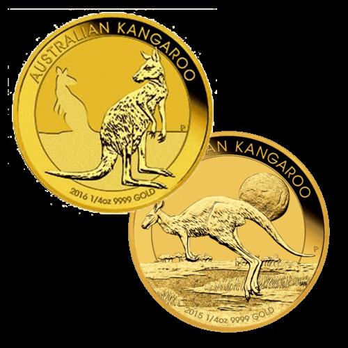 Kängurumünze 1/4 Unze Gold Australien   Rückseite der Kängurumünze 1/4 Unze Gold der Perth Mint Australia