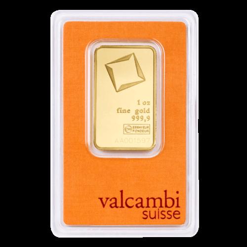 1 Unze Goldbarren Valcambi geprägt