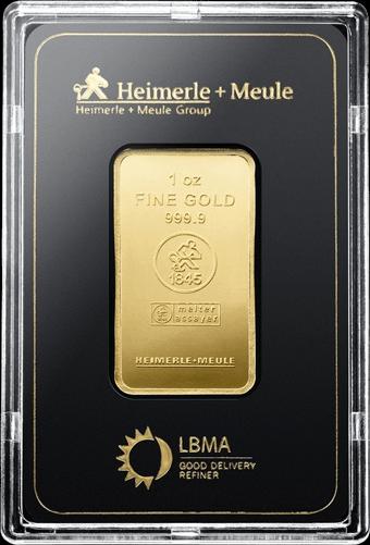 1 Unze Goldbarren Heimerle und Meule geprägt