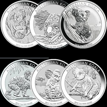 1 Unze Silbermünze Australian Koala | Vorderseite Silbermünze 1 Unze Australian Koala von The Perth Mint Australia