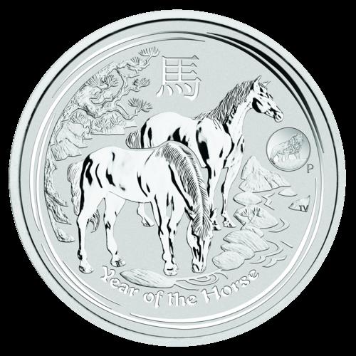 Vorderseite der 1 Unze Silbermünze Australien Lunar 2014 Pferd Privy Mark | Vorderseite 1 Unze Silbermünze Australien Lunar 2014 Pferd Privy Mark von The Perth Mint Australia