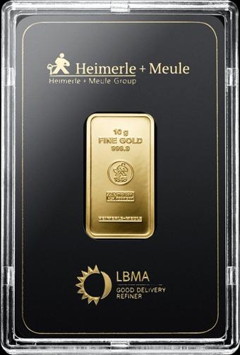 10 g Goldbarren Heimerle und Meule geprägt