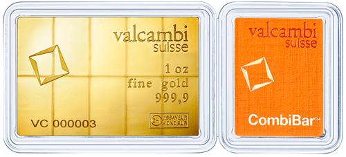 10 x 1/10 Unze Combibar Goldtafel Valcambi