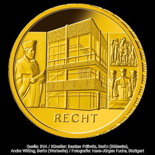 1/2 Unze Gold 100 Euro Säulen der Demokratie Recht 2021