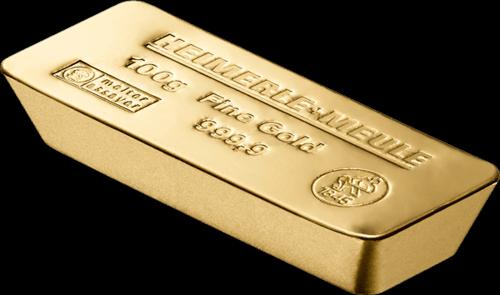 100 g Goldbarren Heimerle und Meule Sargform
