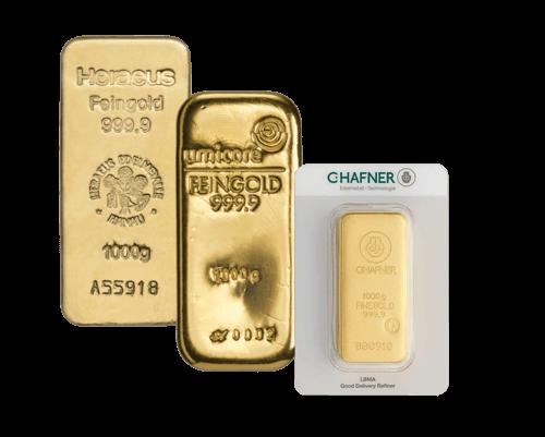 1 kg Goldbarren von Heraeus, Umicore oder Degussa | Goldbarren 1 kg von Heraeus, Umicore oder Hafner