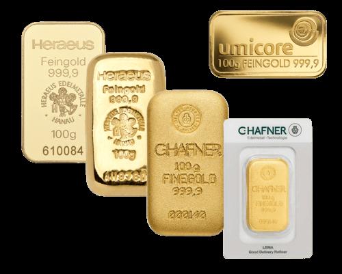 Goldbarren 100g von Heraeus oder Umicore | 100 Gramm Goldbarren von Heraeus oder Umicore