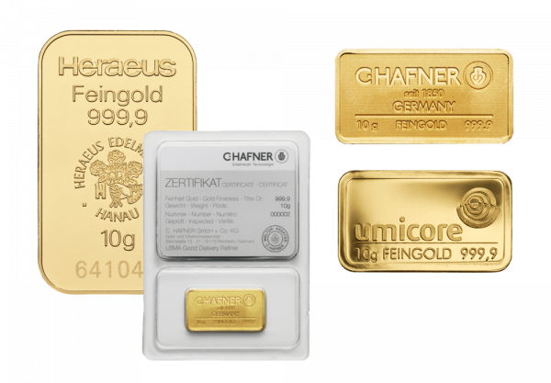 10g Goldbarren von Heraeus, Umicore oder Degussa | Goldbarren 10g von Heraeus, Umicore oder Degussa