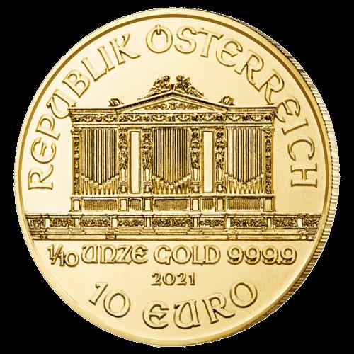 1/10 Unze Gold Wiener Philharmoniker 2021 (zollfrei)