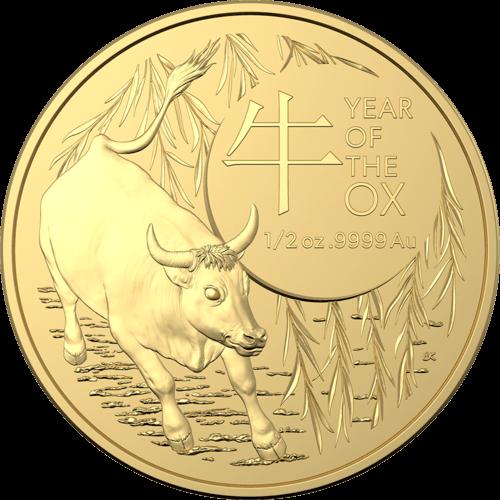 1/2 Unze Gold Australien (RAM) Lunar II Ochse 2021