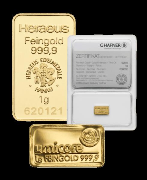 Goldbarren 1 Gramm von Heraeus, Umicore oder Degussa | Goldbarren 1 Gramm von Heraeus, Umicore oder Degussa
