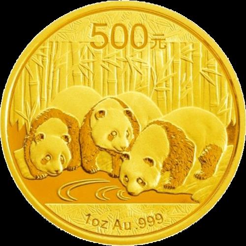 1 Unze Gold China Panda | Vorderseite der Panda Goldmünze 1 Unze der China Mint