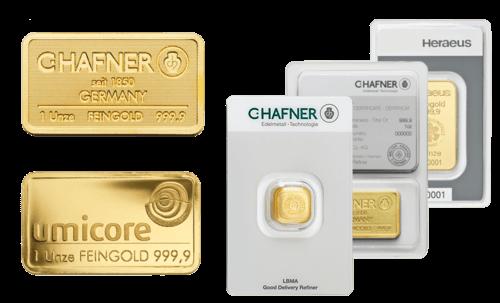 Goldbarren 1 Feinunze von Umicore oder Heraeus | 1 Feinunze  Goldbarren von Umicore oder Heraeus