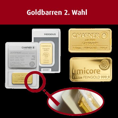 1 Unze Goldbarren (2. Wahl)