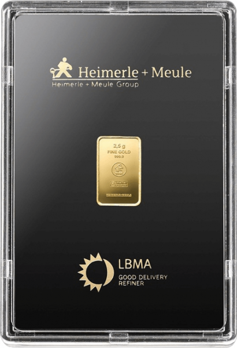 2,5 g Goldbarren Heimerle und Meule geprägt