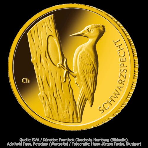 1/8 Unze Gold 20 Euro Heimische Vögel Schwarzspecht 2021