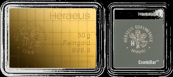 50 x 1 g CombiBar Goldtafel Heraeus