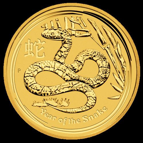 Vorderseite 2 Unzen Goldmünze Australien Lunar 2013 | Vorderseite Goldmünze 2 Unzen Australien Lunar 2013 Schlange