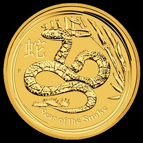 Vorderseite der 1 Unze Goldmünze Australien Lunar 2013 Schlange | Vorderseite 1 Unze Goldmünze Australien Lunar 2013 Schlange von The Perth Mint Australia