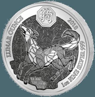 1 Unze Silber Ruanda Lunar Hund 2018