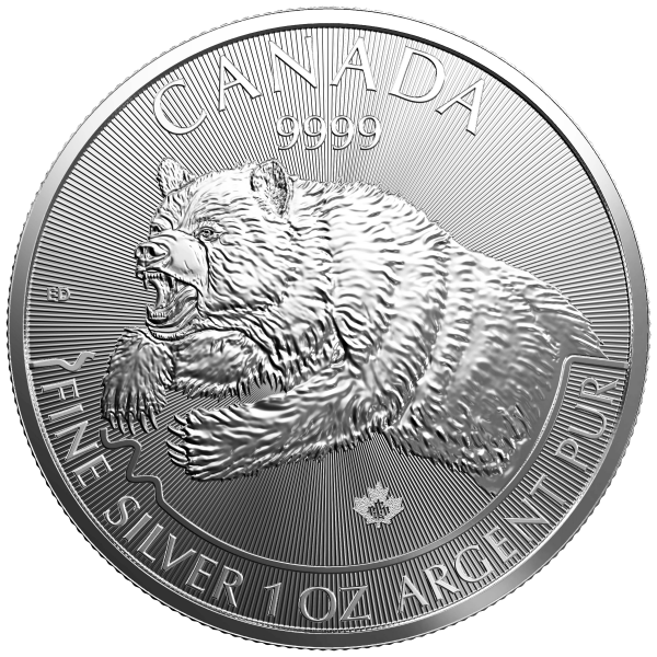 1 Unze Silber Kanada Grizzly 2019
