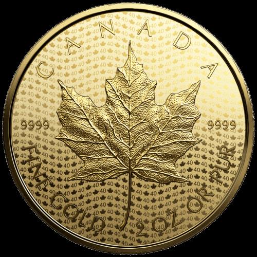 2 Unzen Gold Maple Leaf 40th Anniversary 2019 Proof-Qualität