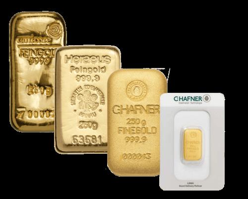 Goldbarren 250 Gramm von Heraeus, Umicore oder Degussa |  250 Gramm Goldbarrenvon Heraeus, Umicore oder Degussa