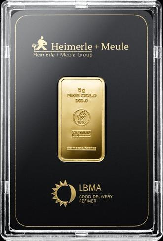 5 g Goldbarren Heimerle und Meule geprägt
