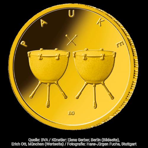 1/4 Unze Gold 50 Euro Musikinstrumente Pauke 2021