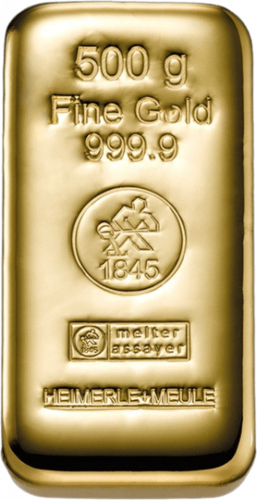 500 g Goldbarren Heimerle und Meule gegossen