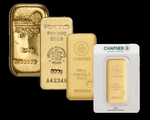 Goldbarren 500 Gramm von Heraeus, Umicore oder Degussa | Goldbarren 500 Gramm von Heraeus, Umicore oder Degussa