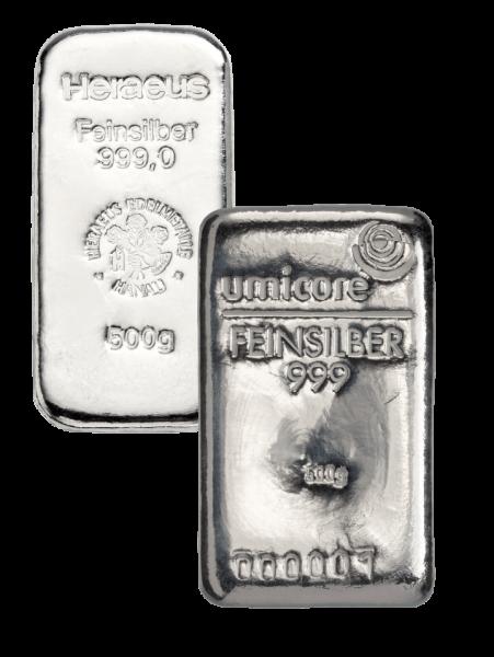 500 g Silberbarren (zollfrei)