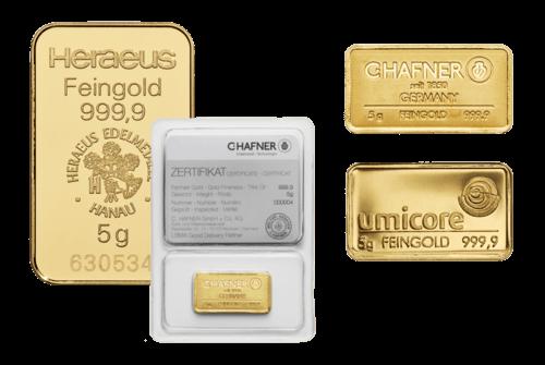 5g Goldbarren von Heraeus, Umicore oder Degussa | Goldbarren 5g von Heraeus, Umicore oder Degussa