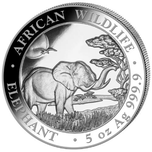 5 Unzen Silber Somalia Elefant 2019