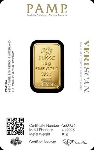 10 g Goldbarren PAMP Suisse