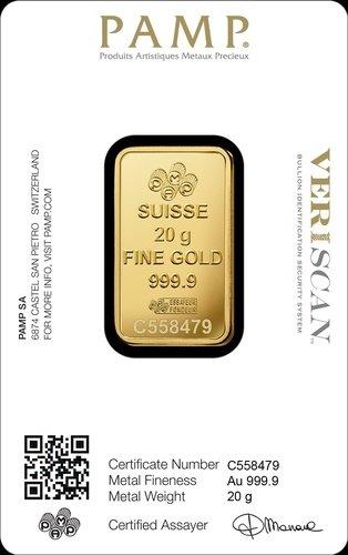 20 g Goldbarren PAMP Suisse