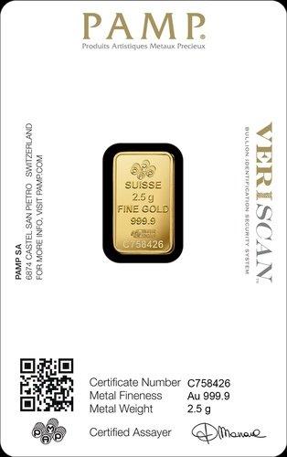 2,5 g Goldbarren PAMP Suisse