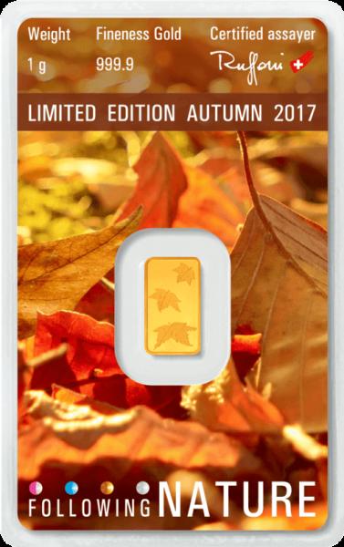 1 g Goldbarren Heraeus Following Nature 2017 Herbst