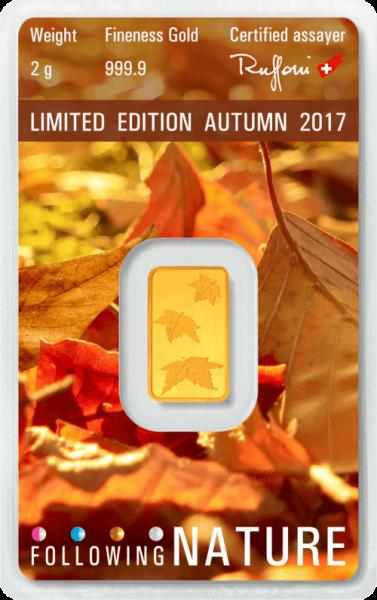 2 g Goldbarren Heraeus Following Nature 2017 Herbst