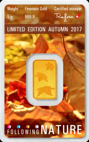 5 g Goldbarren Heraeus Following Nature 2017 Herbst