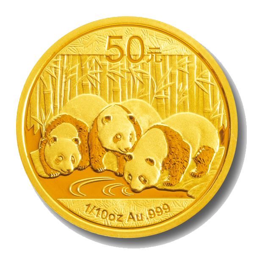 1/10 Unze Gold China Panda | Vorderseite der Panda Goldmünze 1/10 Unze der China Mint
