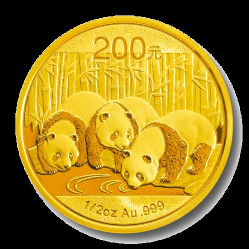 1/2 Unze Gold China Panda | Vorderseite der Panda Goldmünze 1/2 Unze der China Mint