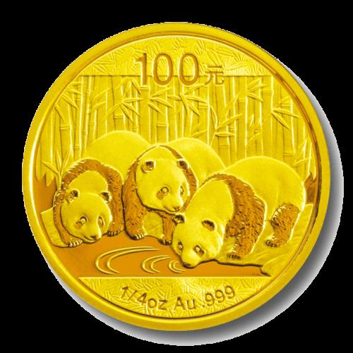 1/4 Unze Gold China Panda | Vorderseite der Panda Goldmünze 1/4 Unze der China Mint