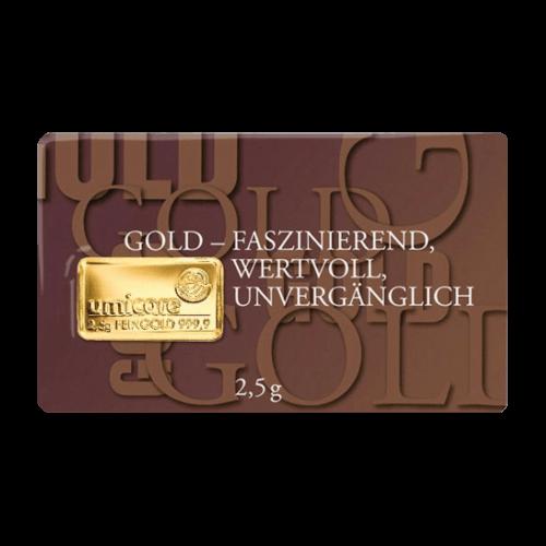 2,5 g Goldbarren Gold faszinierend | 2,5 Gramm Barren faszinierend aus Gold von Good Delivery Herstellern