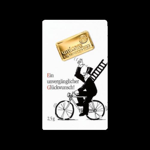 2,5 g Goldbarren Glückwunsch | 2,5 Gramm Barren Glückwunsch aus Gold von Good Delivery Herstellern